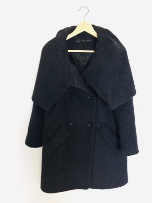 Zara Basic Manteau à capuche blanc cassé-gris anthracite