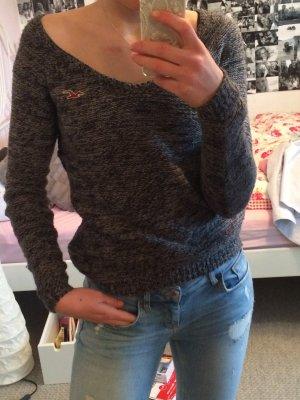 Grau melierter Pullover von Hollister V-Ausschnitt
