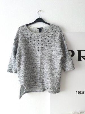Grau Meliertes Pullover