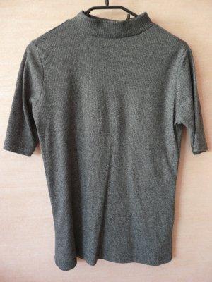 grau-meliertes Rollenkragen Shirt