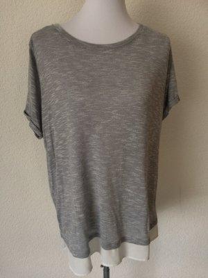 grau meliertes Shirt / Longshirt mit Bluseneinsatz von Yessica / C&A - Gr. XL
