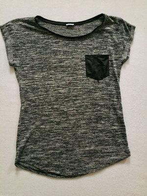Grau meliertes T-Shirt mit Kunstleder Applikationen Gr. S