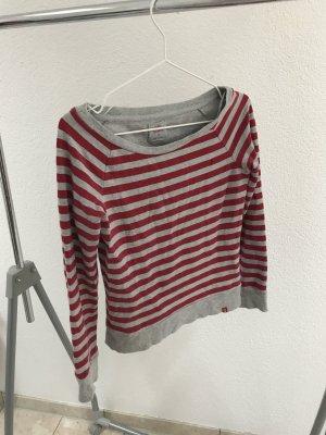 grau-rot gestreifter Rundkragen Longsleeve - Mega flauschig