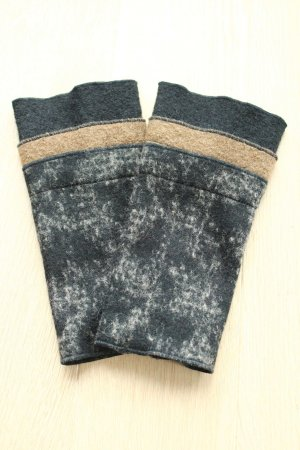 grau schwarz braune Stulpen / Pulswärmer - selbstgenäht