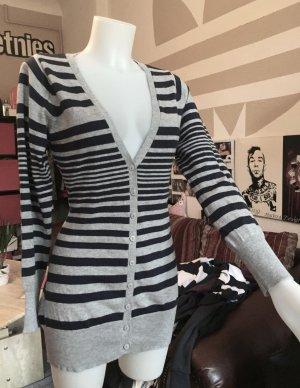 Grau/schwarz gestreifte lange C&A Strick Jacke neu M