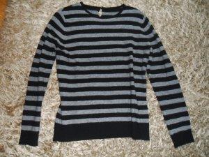 Grau/schwarz gestreifter Pullover, Esprit, Größe M