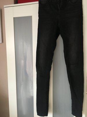 Grau/Schwarze High Waist Hose