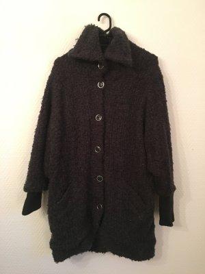 Grau schwarze oversized Teddyfell-Jacke