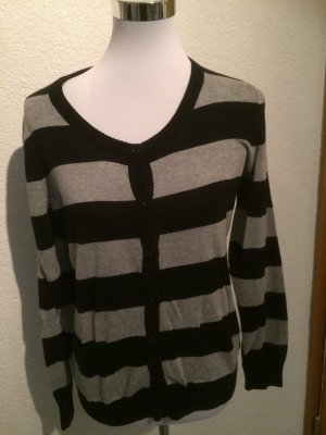 grau schwarzer dünner Pulli / Pullover / Cardigan / Strickjacke von Yessica - Gr. M
