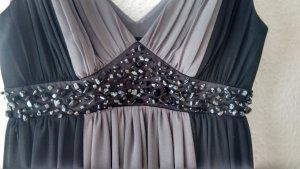 Grau schwarzes Cocktailkleid mit Kieselsteinen