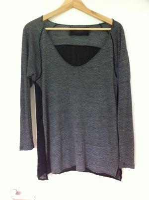 Grau/Schwarzes Langarm Shirt von Zara