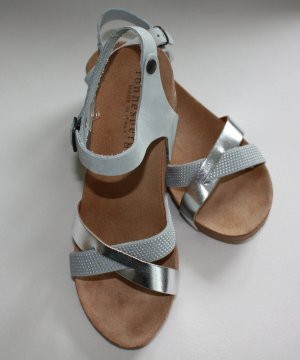 Platform High-Heeled Sandal silver-colored-light grey leather