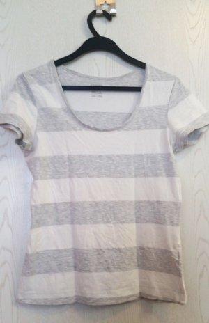 Grau/weiß getreiftes T-shirt, Gr. M