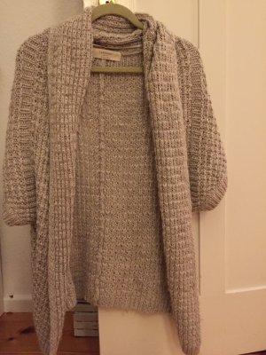 Grau-weiß melierte Strickjacke von Zara