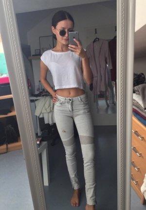 Zara Jeans da motociclista bianco-grigio