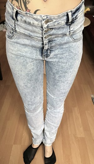Grau/weiße high-waist Jeans S/M