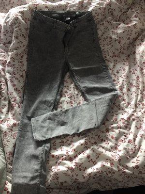 H&M Hoge taille jeans grijs-wit