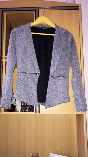 Grau weißer Blazer mit Taschen