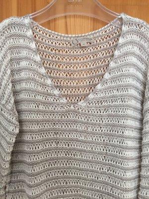 Grau/ weißer Pullover von Comma in Größe 42