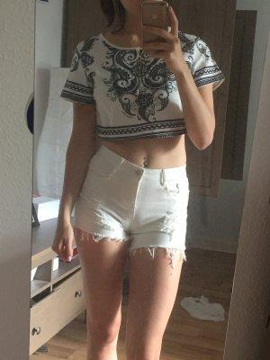 Grau weißes Crop Shirt