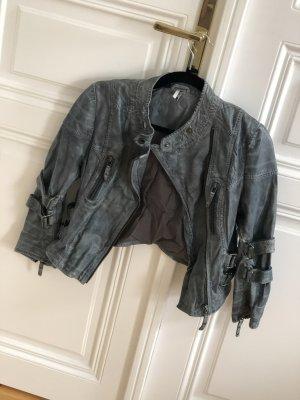 Graublaue Lederjacke von Topshop
