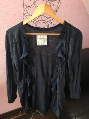 Graublauer Abercrombie Cardigan mit Rüschen (L)