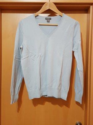 graublauer Feinstrick Pullover V-Ausschnitt von Eddy Bauer Gr. M