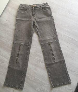 Jeans boyfriend marrone-grigio Tessuto misto