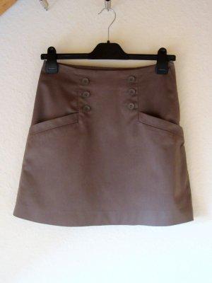 Graubrauner Minirock mit Knopfleisten - Größe 36