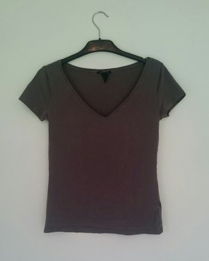 Graubraunes Basic T-Shirt von H&M