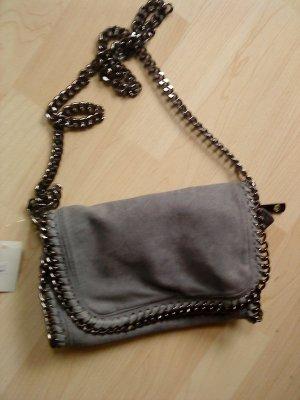 Crossbody bag grey-silver-colored