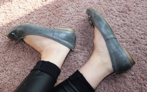 s.Oliver Patent Leather Ballerinas grey