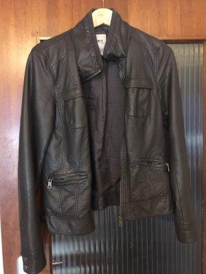 Only Biker Jacket dark grey imitation leather