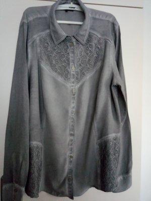 Graue Bluse mit Spitzeneinsatz Gr.42 von Bonita.
