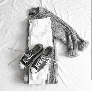 Converse Basket à lacet blanc-argenté coton