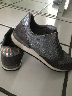 Graue Glitzer-Ledersneaker von Zign