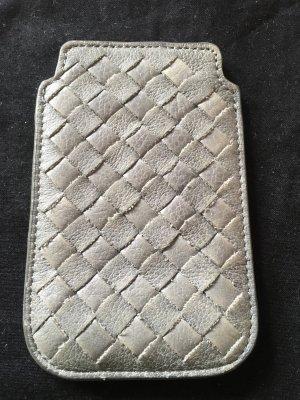 Graue Handytasche, Echtleder, geeignet bis iPhone 4/5