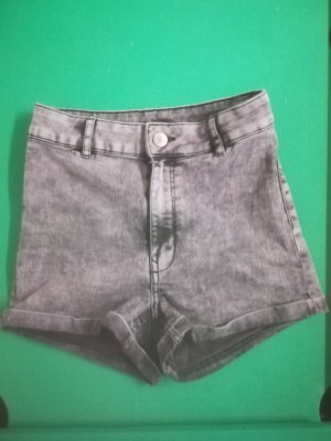 graue High Waist Jeans-Shorts - Gr. 36