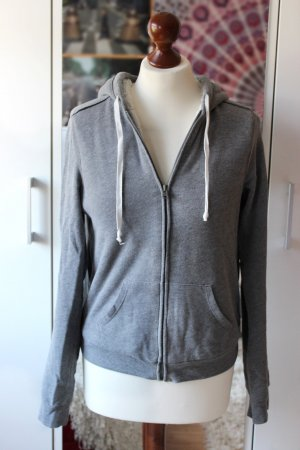 Graue Hollister Sweatjacke Zipper gefüttert 36 38 S