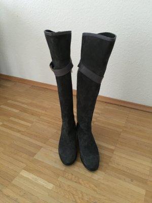 Graue Italienische  Echtleder Overknee Stiefel in GR.37, noch ungetragen.