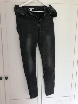 H&M Hoge taille jeans donkergrijs-grijs