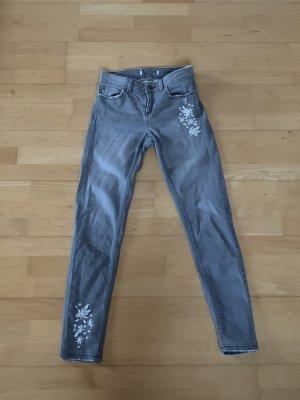 Zara 7/8-jeans wit-lichtgrijs