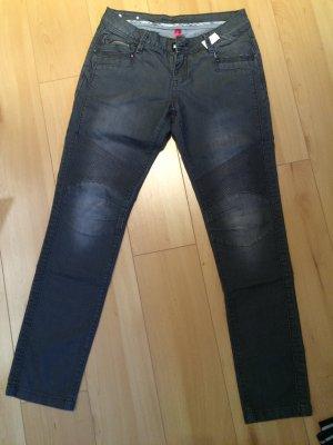 Graue Jeans Orsay Nieten biker Patch