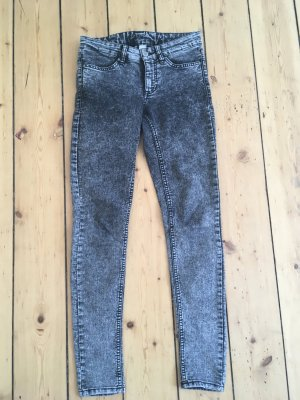H&M Divided Drainpipe Trousers dark grey-grey cotton