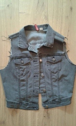 H&M Gilet en jean gris-gris foncé