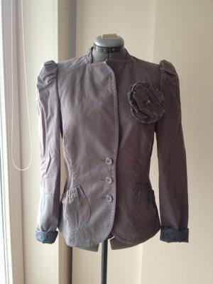 Graue Kurz-Jacke/ Blazer von Esprit mit Stehkragen und Puffärmel, M/ L