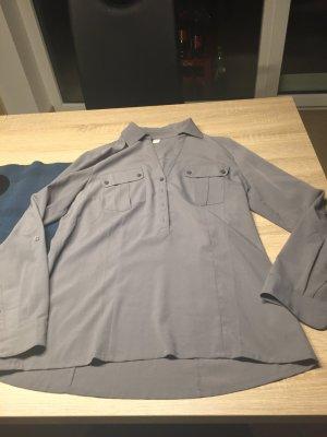 Graue Langarm Bluse