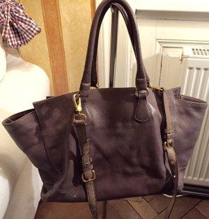 Graue lederne Handtasche von Massimo Dutti