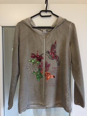 Graue Linea Tesini Jacke aus feiner Baumwolle mit bunten Pailetten im Used-Look