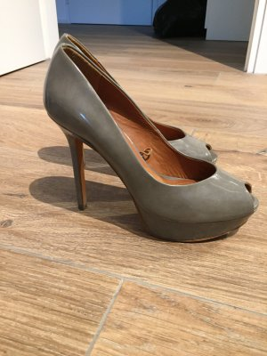 Zara Peep Toe Pumps zilver